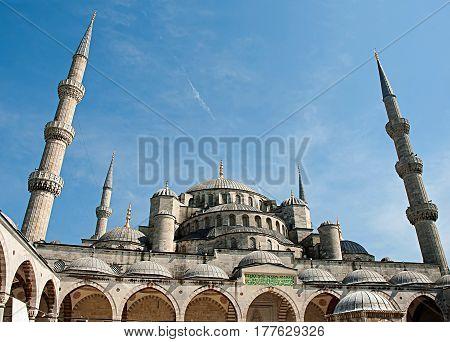 The Blue Mosque (Turkish: Sultanahmet Camii) Istanbul Turkey