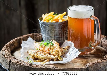Fresh Smelt Fish And Chips With Cold Beer