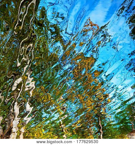 Abstract water reflection with blue, yellow and green colors
