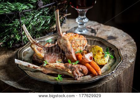 Spicy Roasted Lamb Ribs With Thyme And Spices