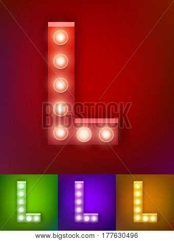 Vector illustration of realistic old lamp alphabet for light board. Red Gold and pink options. Vintage vegas show typography. Letter L