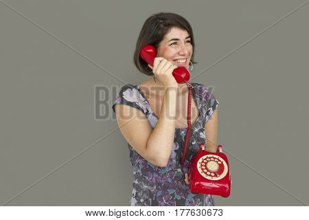 Caucasian Lady Red Telephone Concept