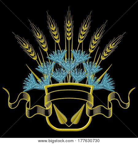 Embroidery Coat of arms with Wheat and blue Cornflowers. Vector illustrations