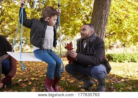 Father With Son Playing On Tree Swing In Autumn Garden