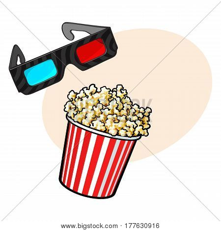 Cinema objects - popcorn and 3d, stereoscopic glasses, sketch style vector illustration with place for text. Cinema, movie attributes like popcorn in red and white bucket and 3d glasses