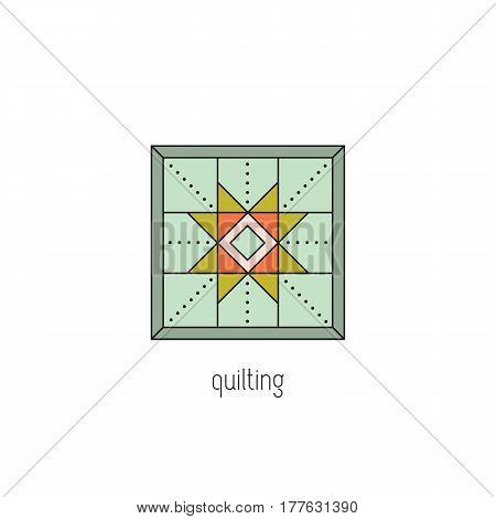 Quilting vector thin line icon. Patchwork blanket, handmade quilt. Colored isolated symbol. Logo template, element for business card or workshop announcement. Simple mono linear modern design.