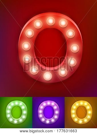Vector illustration of realistic old lamp alphabet for light board. Red Gold and pink options. Vintage vegas show typography. Letter O