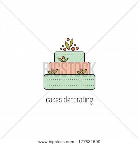 Cakes decorating vector thin line icon. A big cake. Colored isolated symbol. Logo template, element for business card or workshop announcement. Simple mono linear modern design.