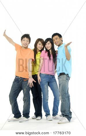four happy asian young people