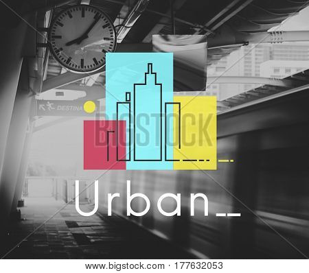 Illustration of concrete jungle urban scene city life