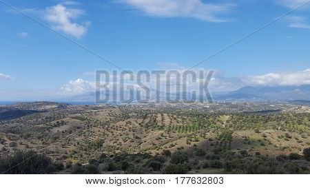 Panoramic view of the countryside of Crete