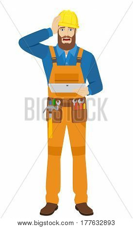 Worker holding digital tablet PC and grabbed his head. Full length portrait of worker in a flat style. Vector illustration.