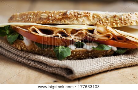 Food photography of a sandwich in a table