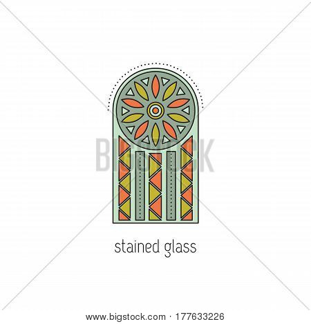 Stained glass window, vector thin line icon. Type of handmade work. Isolated symbol. Logo template, element for business card or workshop announcement. Simple mono linear modern design.