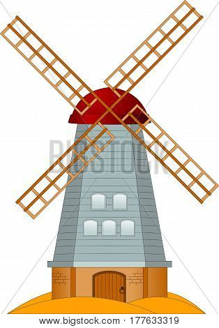 Cartoon picture of a windmill on a yellow field vector