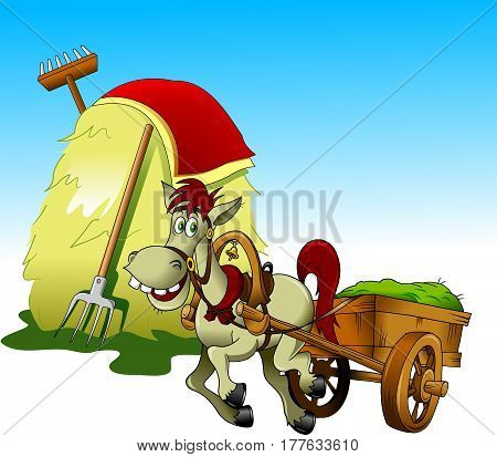 horse carries a cart with grass past a haystack