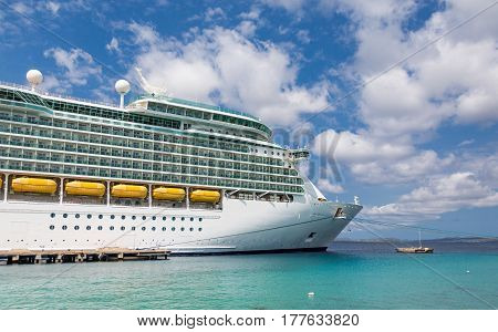 Cruise Ship Docked in Aqua Water in Belize