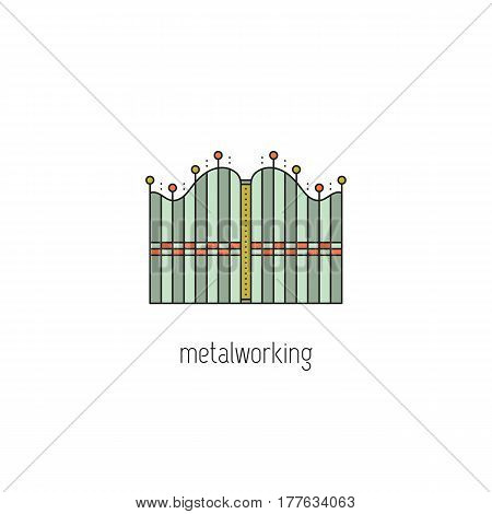 Decorative metal forging vector thin line icon. Wrought gate. Isolated symbol. Logo template, element for business card or workshop announcement. Simple mono linear modern design.