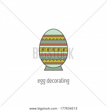 Egg decorating vector thin line icon. Painted Easter egg. Colored isolated symbol. Logo template, element for business card or workshop announcement. Simple mono linear modern design.