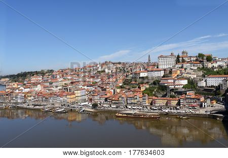 View of Porto Portugal on a sunny day