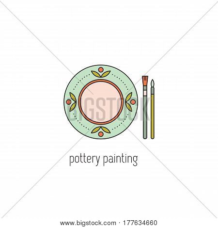 Pottery painting vector thin line icon. Handmade decorated ceramic plate. Isolated symbol. Logo template, element for business card or workshop announcement. Simple mono linear modern design.