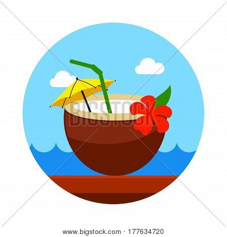 Coconut Drink with Straw vector icon. Beach. Summer. Summertime. Holiday. Vacation eps 10