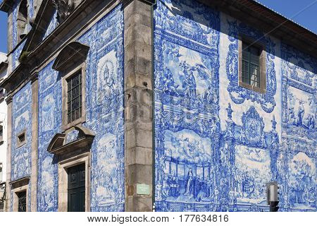 Capela das Almas church and its walls which are covered with tiles porto Portugal