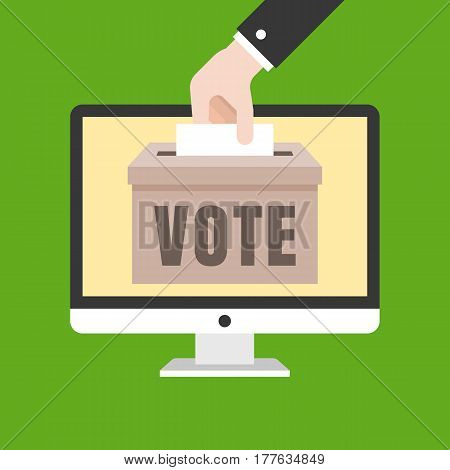 business hand put card in box for vote on computer screen, vote online concept, flat design