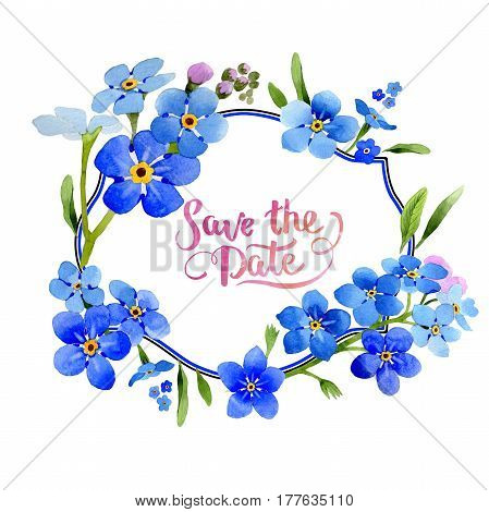Wildflower myosotis arvensis flower wreath in a watercolor style isolated. Full name of the plant: Myosotis arvensis. Aquarelle wild flower for background, texture, wrapper pattern, frame or border.