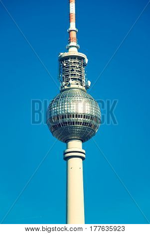 Berlin televsion tower in front of blue sky