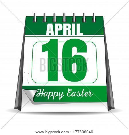 Easter calendar. Catholic Easter 2017. Desktop calendar with a festive date. April 16th. Vector illustration