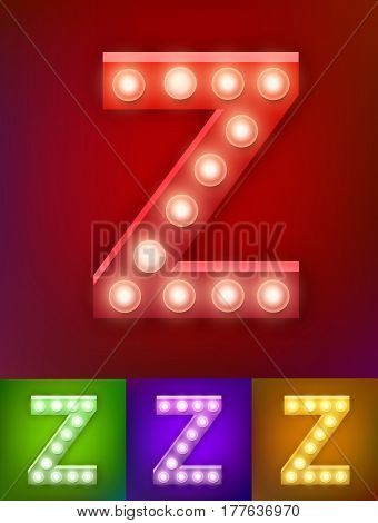 Vector illustration of realistic old lamp alphabet for light board. Red Gold and pink options. Vintage vegas show typography. Letter Z