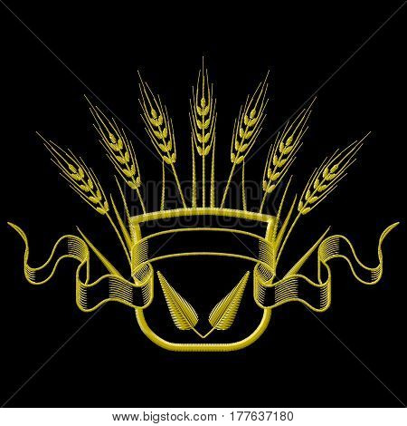 Embroidery Coat of arms with Wheat and leafs. Vector illustrations