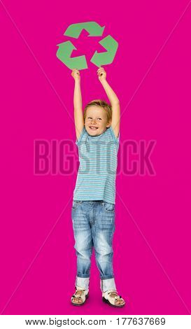 Caucasian Ethnicity Boy holding Recycle Sign