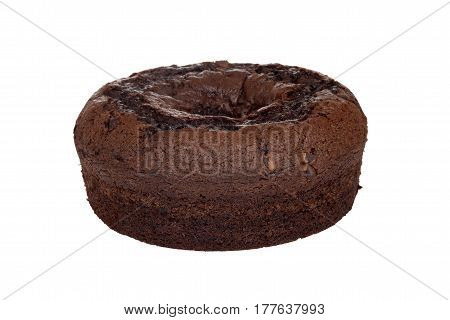 isolated closeup chocolate chip fudge coffee cake