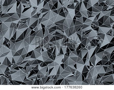 3D Illustration - Dark and futuristic low poly texture