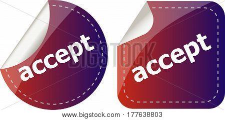 Black Accept Stickers Set On White, Icon Button