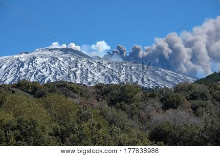 dark smoke of volcanic ash on Mount Etna, Sicily