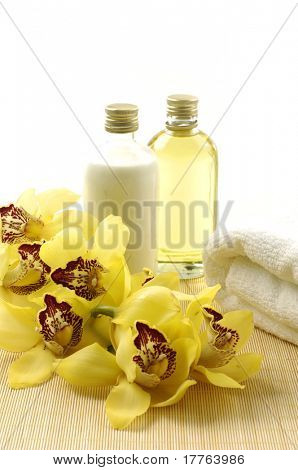 Spa and wellness massage oil and towel
