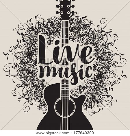 banner with acoustic guitar and inscription live music on arts background