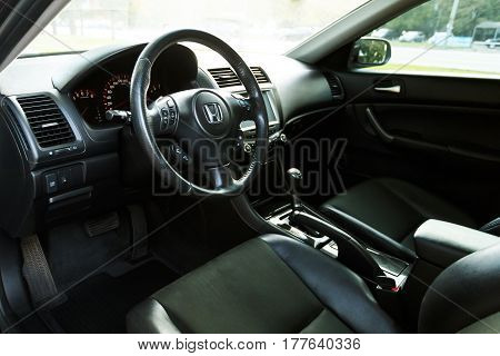 DNIPRO UKRAINE - OCTOBER 01 2016: HONDA ACCORD DARK COLOR INTERIOR