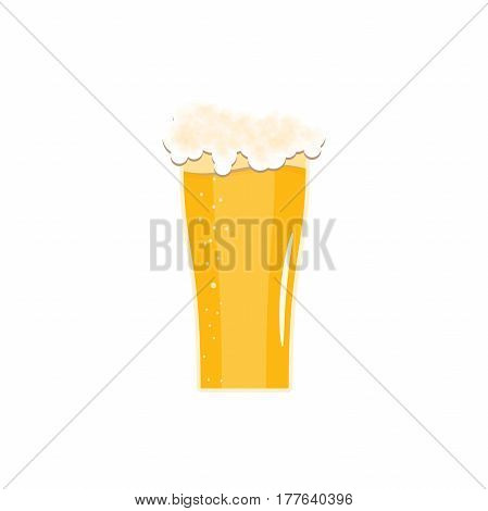 Isolated icon fully loaded goblet of light beer with foam on the white background.