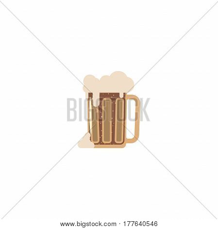 Isolated flat icon fully loaded mug of dark beer.