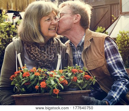 Senior Couple Man Giving Woman a Cheek Kiss and Flowers