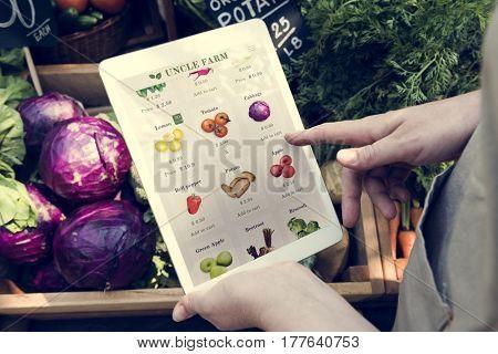 Man Holding Tablet E-Commerce Sell Vegetables