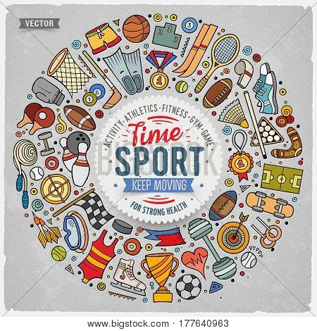 Colorful vector hand drawn set of Sport cartoon doodle objects, symbols and items. Round frame composition