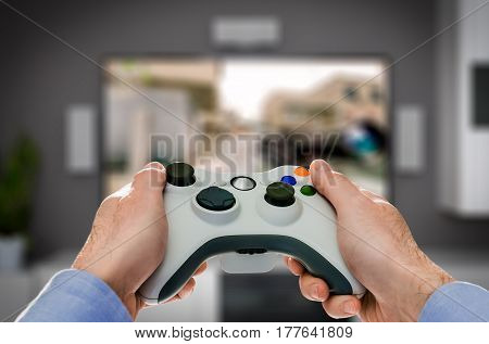gaming game play tv fun gamer gamepad guy controller video console