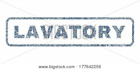 Lavatory text textile seal stamp watermark. Blue jeans fabric vectorized texture. Vector caption inside rounded rectangular shape. Rubber sticker with fiber textile structure.