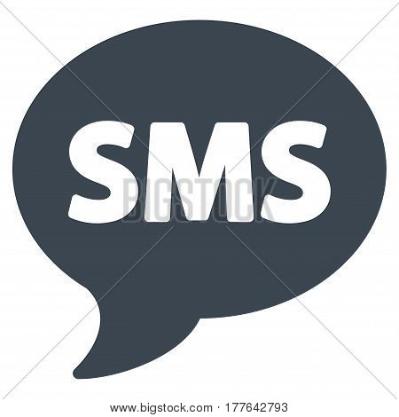 SMS vector icon. Flat smooth blue symbol. Pictogram is isolated on a white background. Designed for web and software interfaces.