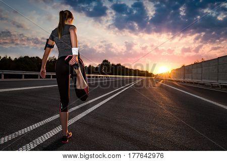 stretching run runner road jogging flare sunset street fitness cross